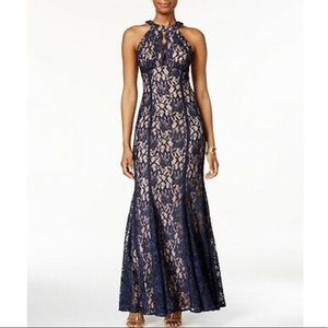 Nightway Glitter Lace Keyhole Cut Gown